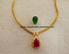 Simple Elegant Necklace with Interchangeable Gemstone Pendant