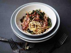 Parempi pasta carbonara Pasta Carbonara, My Cookbook, Soul Food, Risotto, Spaghetti, Food And Drink, Menu, Tasty, Cooking