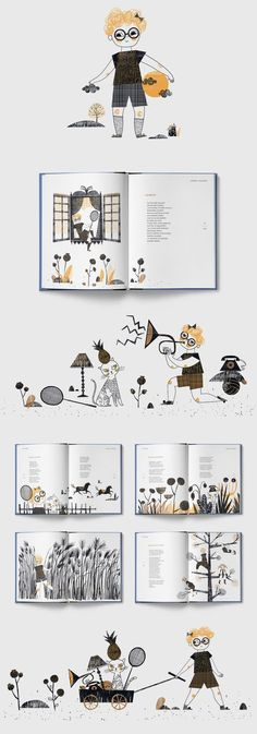 """Illustrated book by a prominent Polish writer Jerzy Ficowski.""""Lodorosty i bluszczary"""" is a collection of the author's poems for children.Illustrated by Gosia Herba.Design and DTP by Mikołaj Pasiński.Cover design by Gosia Herba and Mikołaj Pasiński. Book Design Layout, Book Cover Design, Poem Design, Design Room, Book Infantil, Edition Jeunesse, Book Design Inspiration, Design Ideas, Design Editorial"""