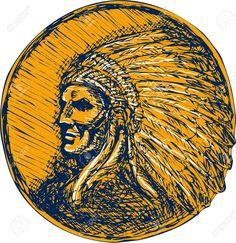 Dibujo Ilustración De Un Guerrero Americano Jefe Indio Nativo Con El Tocado…