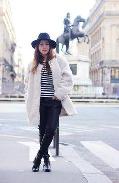 elodie in paris blogger skinny pants black pants fuzzy coat fedora coat top pants shoes hat bag