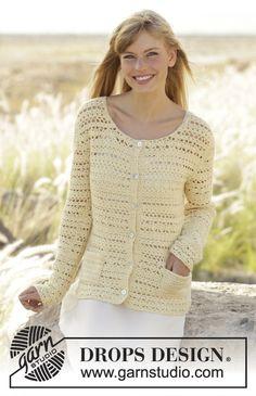 "Daniella - Crochet DROPS jacket with pockets, worked top down in ""Alpaca"". Size: S - XXXL. - Free pattern by DROPS Design"