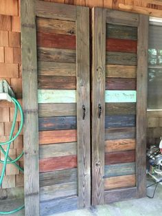 Two Rustic Farmhouse Barn Door for Pantry. Closet Barn Doors made from Reclaimed wood by ChiefspeakTradingCo. Barn Door Pantry, Barn Door Closet, Rustic Closet, Wood Closet Doors, Pantry Closet, Barn Doors For Closets, Pallet Pantry, Double Closet Doors, Closet Wall