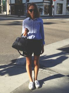 Club Monaco shirt, Wood Wood shorts, Superga sneakers and Louis Vuitton bag