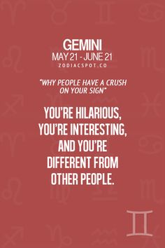 Gemini. Hilarious. Interesting. Different from other people.