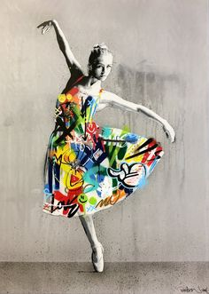 graffiti-dancer --- Nearly photo-realistic figures stenciled in place make bright surrounding tags all the more vibrant in this series of street art juxtapositions by artist Martin Whatson of Norway. Graffiti Art, Stencil Graffiti, Stencil Art, Graffiti Illustrations, Graffiti Drawing, Graffiti Painting, Stencils, Urban Street Art, Urban Art