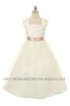MB_238I - Girls Dress Style 238- Choice of White or Ivory Build Your Own Dress with Choice of 21 Ribbon Sashes - Create a Dress - Flower Girl Dress For Less