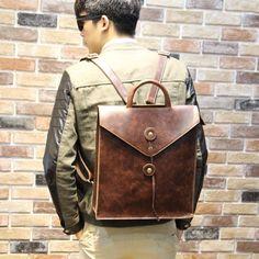 43.69$  Buy here - http://ali0v6.worldwells.pw/go.php?t=32658077794 - New Arrival Men's Leather Fashion Backpack Vintage Shoulder Bag Fringe Men Brown New