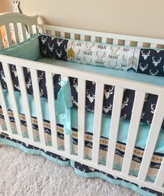 Tailored Crib Skirt made in our adorable aztec and deer! Our crib dust ruffles are the perfect amount of stylish and we love the fun print in this rust arrows crib skirt! Choose a 3 or 4-sided crib skirt for your crib bedding! If you are just pushing your crib up against the wall, theres no need for a fourth side! Our tailored crib skirts have an approximate 17-18 drop and fit a standard crib!  Dont love these prints? Contact us if youd like something different and we can help