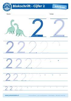 Cijfer 2 - Dit werkblad biedt het cijfer 2 aan. Oefen eerst het cijfer een aantal keer op de eerste, grote cijfers. Oefen daarna de cijfers steeds kleiner. Tip: pak een aantal gekleurde potloden en schrijf het cijfer elke keer met een andere kleur! Je kunt gewoon over het vorige lijntje heen schrijven. Zo oefen je het cijfer meerdere keren en onthoud je het beter. Je kunt het blad ook vaker printen. Download ook de andere oefenbladen en maak een boekje van al je geschreven cijfers! Alphabet Worksheets, Preschool Worksheets, Writing Numbers, Home Schooling, Scandal Abc, Kids Education, Kids Learning, Homeschool, Einstein