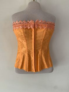 Excited to share this item from my shop: Vintage Orange Corset Top by Frederick's of Hollywood Field Jacket, Orange Dress, Paisley Print, Pattern Fashion, Corset, Lace Up, Hollywood, Etsy Shop, Vintage