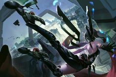 Anime picture 2000x1331 with  original iorlvm long hair single highres bare shoulders sky ponytail grey hair back spread arms falling mechanical mechanical wings girl gloves wings armor building (buildings) black gloves