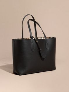 The Medium Reversible Tote in Haymarket Check and Leather