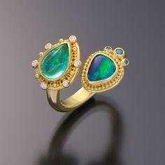 granulation 22kt gold opal tourmaline ring