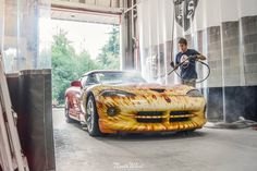 "Tuesday has arrived, and we're getting Cats Exotics flaming hot ""Meteorite"" Dodge Viper RT/10 all washed up!"