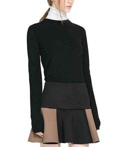 Contrast Mini Skater Skirt With Side Zipper SK0150038