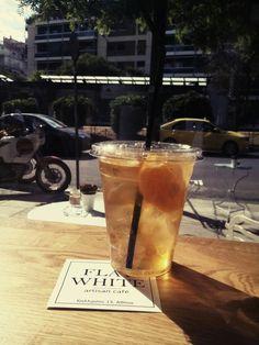Honey & Ginger iced green tea, Flat White artisan cafe, Athens, Greece