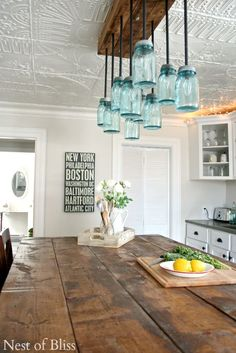 Farmhouse Kitchen Tour - Updated! Nest of Bliss Love the light fixture, the ceiling and the great primitive table. LOVE