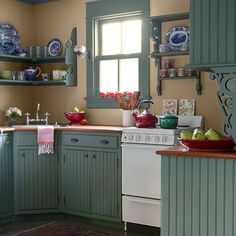 Cape Cod Guest Cottage. Paint: Benjamin Moore's HC 124 Caldwell Green (cabinets, beadboard and trim)