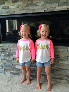 3 Year Old Birthday Shirt Girl Three Years by BumpAndBeyondDesigns