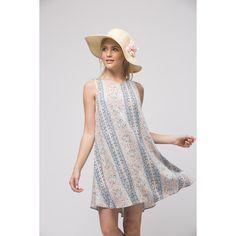 Andree By Unit Sleeveless Boho Dress ($34) ❤ liked on Polyvore featuring dresses, blue multi, sleeveless summer dresses, boho style dresses, boho print dress, blue summer dress and sleeveless dress