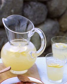 Lemon Drops on the Rocks (3 cups vodka 2 1/4 cups fresh lemon juice (from 10 to 12 lemons) 1/2 cup plus 3 tablespoons superfine sugar Ice, for serving Thin lemon slices, halved, for garnish)