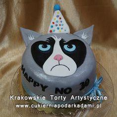 212. Tort głowa wkurzonego kota. Grumpy cat cake.