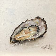 "Oyster Bay City Original Oil painting. Canvas 6""x6"". Daily paintings by Nina R Aide Studio #oyster#still life#small painting#kitchen#fine art#seashell"