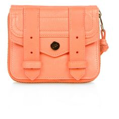 Proenza Schouler PS1 Small Leather Zip Wallet - Neon Coral ($495) ❤ liked on Polyvore
