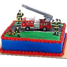 Fire Trucks Birthday Party Many young children are in awe of fire trucks and… Firefighter Birthday Cakes, Truck Birthday Cakes, Fireman Birthday, Fireman Party, Birthday Cake Toppers, Boy Birthday, Cupcake Toppers, Birthday Ideas, Fireman Sam
