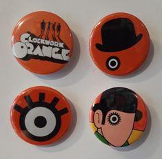 Set of 4 Button Badges. Size: 25 cm (1 inch). Button Badge, Badges, Arcade, Buttons, Orange, Badge, Knots, Lapel Pins, Plugs