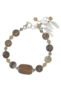"""Adjustable length bracelet featuring a genuine Stingray leather bead with natural fire agate gemstones and Swarovski crystal. Handcrafted in the USA with a Sterling Silver lobster clasp and embellished extender chain.  Measures: 7.5"""" with 1.5"""" extender chain Stingray Leather Bracelet-Neutral by Moonrise Jewelry. Accessories - Jewelry - Bracelets Virginia"""