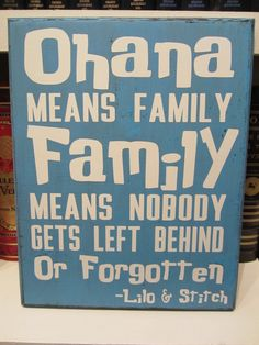 XL Craft Sign - Disney Inspired - Lilo and Stitch - Ohana Means Family - Quote