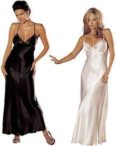 Amazon.com: Sexy Satin Long Silk Pajama Robes Nightgown Womens Lingerie Sleepwear Nightwear New: Clothing