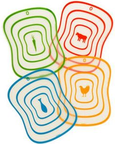 Keep cross-contamination to a minimum when cutting veggies and meats with these color-coded cutting mats.