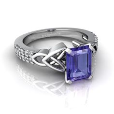 Amethyst and Diamond Celtic Knot Engagement Ring with Genuine Amethyst in White Gold - Jewels For Me style Tanzanite Jewelry, Amethyst Jewelry, Gemstone Jewelry, Jewelry Rings, Jewelry Accessories, Fine Jewelry, Jewelry Design, Unique Jewelry, Jewlery