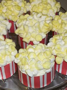 Phaedra's Adventures: Popcorn Cupcakes For April Fool's Day Popcorn Cupcakes, Sundae Cupcakes, Baking Cupcakes, Cupcake Recipes, Cupcake Cakes, Dessert Recipes, Cupcake Wrappers, Fun Cupcakes, Drink Recipes