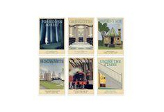Retro Travel Poster  Harry Potter  Set of 6  MANY by TeacupPiranha