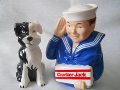 Cracker Jack (Sailor Jack and Bingo) Salt and Pepper shakers - vintage, collectible, advertising by TheShakerShack on Etsy Salt N Peppa, Salt Pig, Cracker Jacks, Salt And Pepper Set, Salt Pepper Shakers, The Good Old Days, Etsy Vintage, Aunt Jemima, Pineapple Upside