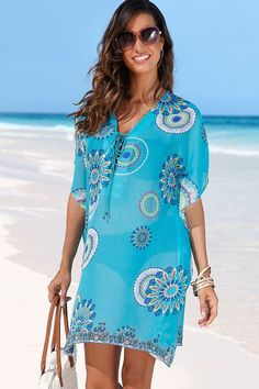 Beach Cover Up vintage bohemian beach dress woman Chiffon Tunic dress floral printed swimsuit cover up Summer blue bathing suit Bikini Cover Up, Swimsuit Cover Ups, Swimwear Cover Ups, Beach Dresses, Summer Dresses, Chiffon Dresses, Plus Size Swimwear, Women Swimsuits, Bikinis