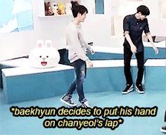 Just sit in his lap already. BaekYeol/ChanBaek (gif)