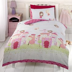 Pink Green Princess Fairy Castle Bedding Crib/Toddler Twin or Full Duvet Cover - Comforter Cover Set