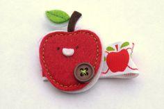 red apple felt clippy back to school hair cute