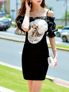Shop Mini Dresses - Black Casual Off Shoulder Appliqued Graphic Mini Dress…
