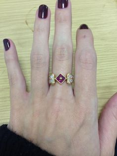 Yellow gold ruby ring with diamonds. #thediamondstoreuk #ring #ruby #diamonds #jewellery