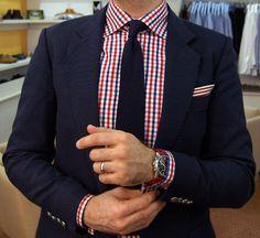 Navy Knit Tie + Tudor Personal Tailor shirt + Navy blazer