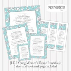 LDS Young Women's theme-5 sizes and bookmarks by periwinkleinc