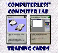 "You are a computer teacher and have been told the lab will be unavailable for a week of testing. What do you do? Buy ""Computerless Computer Lab Trading Cards"" and relax! Included is a set of 54 trading cards highlighting computer hardware & accessories, software types and web page design. These trading cards can be printed on card stock, laminated, and trimmed to produce a set of playing cards. Also included are the documents Educational Trading Card Games and Creating Educational Trading…"