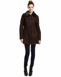 Cole Haan Chocolate Shearling Coat