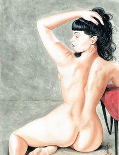 Betty Cakes by Jesso Female Nude Pin-up Rockabilly Canvas Art Print – moodswingsonthenet
